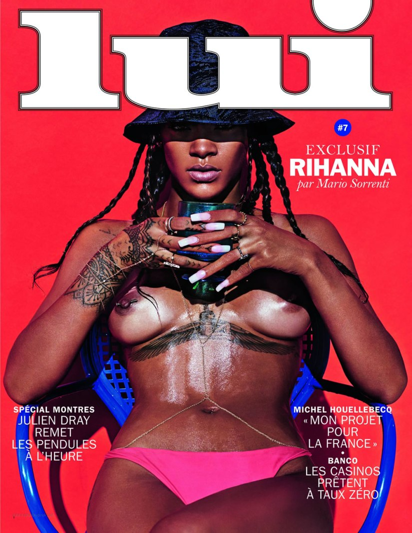 Rihanna covers Lui magazine in a Kenzo hat, Jennifer Fisher body chain and Jacquie Aiche finger bracelet