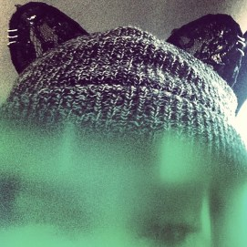 Rihanna wearing Silver Spoon Attire grey beanie with black lace ears