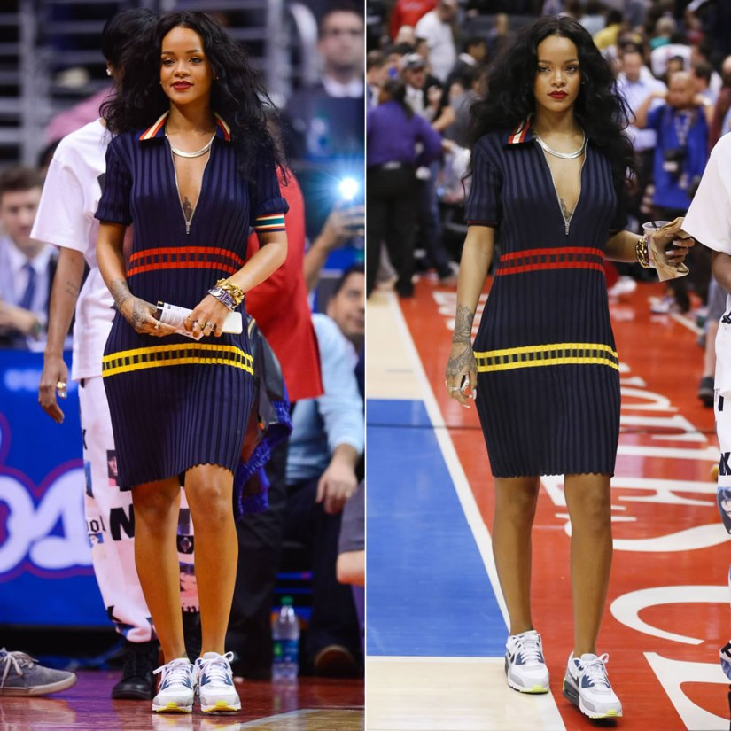 Rihanna wearing Celine Spring Summer 2014 dress, Nike Air Max 90 essential sneakers, Celine ID bracelet, Fallon herringbone necklace, Sabine G ring