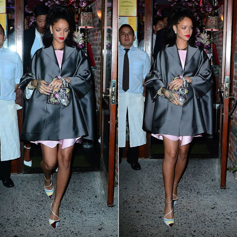 Rihanna leaving Da Silvano in Dior Pre-Fall 2014 coat, Resort 2014 pumps and Mise En Dior tribal earrings