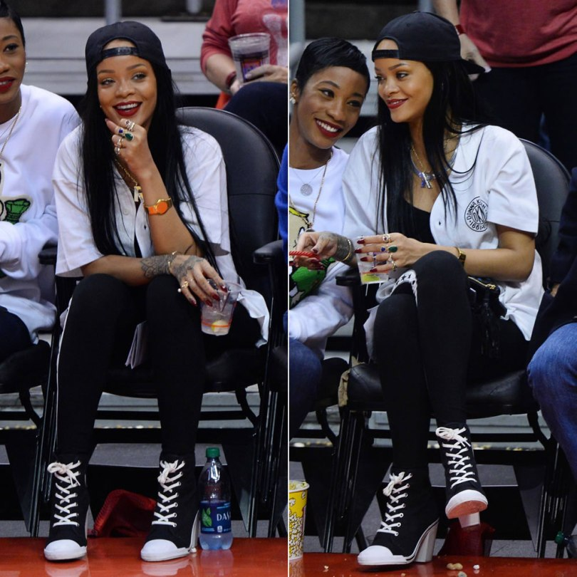Rihanna at Clippers basketball game wearing DKNY for Opening Ceremony logo baseball shirt, stars logo leggings and high heel sneakers