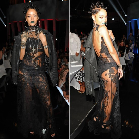 Rihanna at iHeartRadio Music Awards wearing Givenchy Fall 2008 couture black lace dress and leather jacket, Manolo Blahnik Lara suede pumps, Neil Lane earrings and necklaces, Nikos Koulis rings and cuffs, Lynn Ban and Loree Rodkin rings