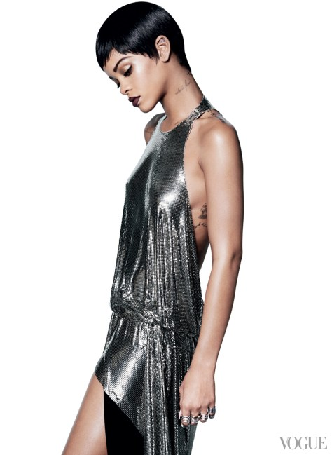 Rihanna wearing Lynn Ban coil rings in Vogue