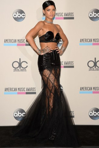 Rihanna wearing Jean Paul Gaultier Spring 2013 couture top and skirt at the 2013 American Music Awards