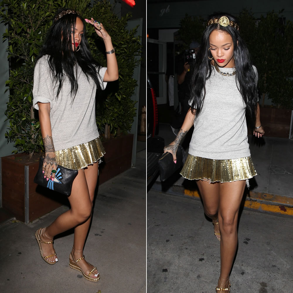 85d893c56cd1 Rihanna was spotted leaving Giorgio Baldi restaurant in Los Angeles last  night. She did a high fashion take on bohemian headbands. Rih wore a  headband by ...