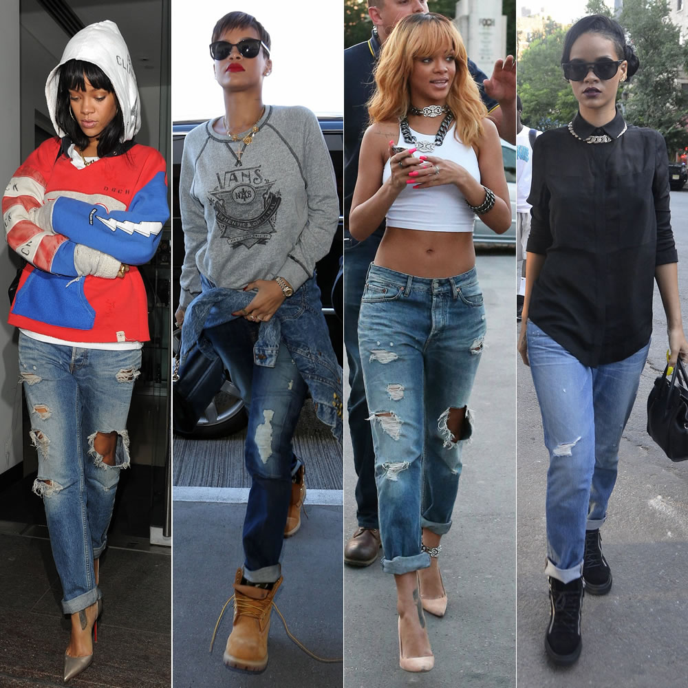 2e3735df5ad Rihanna loves distressed boyfriend jeans. She rocks them with boots and  sneakers and when the mood hits she dresses them up with sky-high heels.