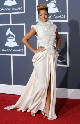 Rihanna at the 2010 Grammy Awards in Elie Saab Fall 2009 couture gown