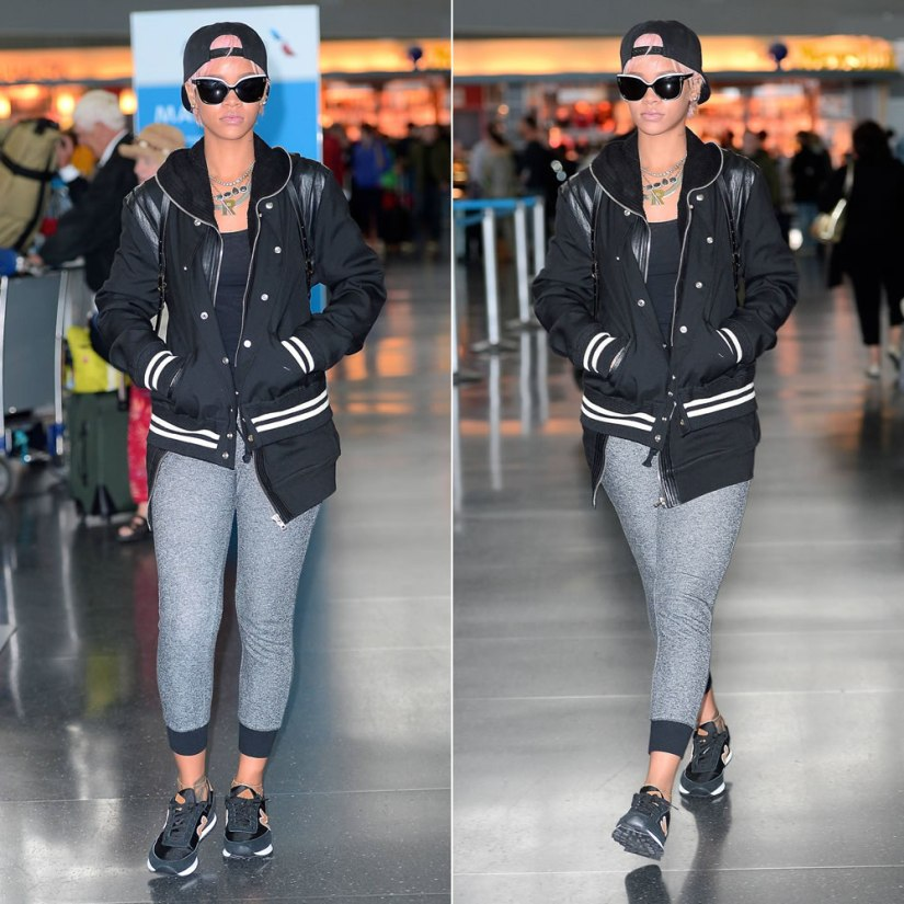 Rihanna wearing Saint Laurent leather-trimmed varsity jacket, Rick Owens leather detail cotton zip hoodie, New Balance WL501 black and burgundy sneakers, Fallon herringbone necklace, Jacquie Aiche labradorite necklace