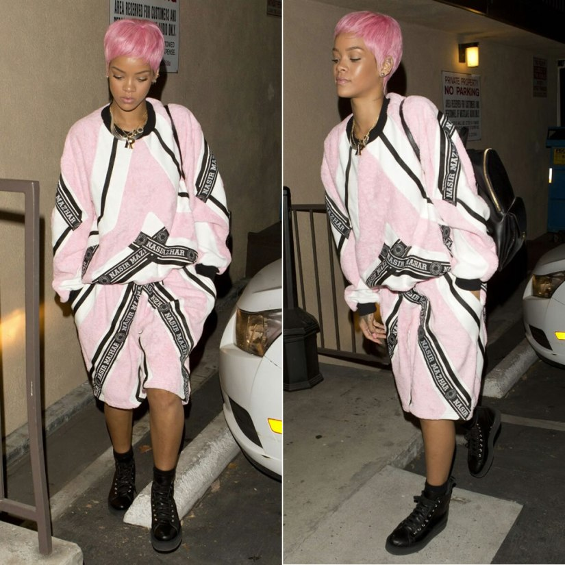 Rihanna wearing Nazir Mazhar pink colour block sweatshirt and track short, Comme des Garcons platform high top sneakers, Stella McCartney Beckett backpack, Fallon herringbone necklace, Jacquie Aiche labradorite necklace