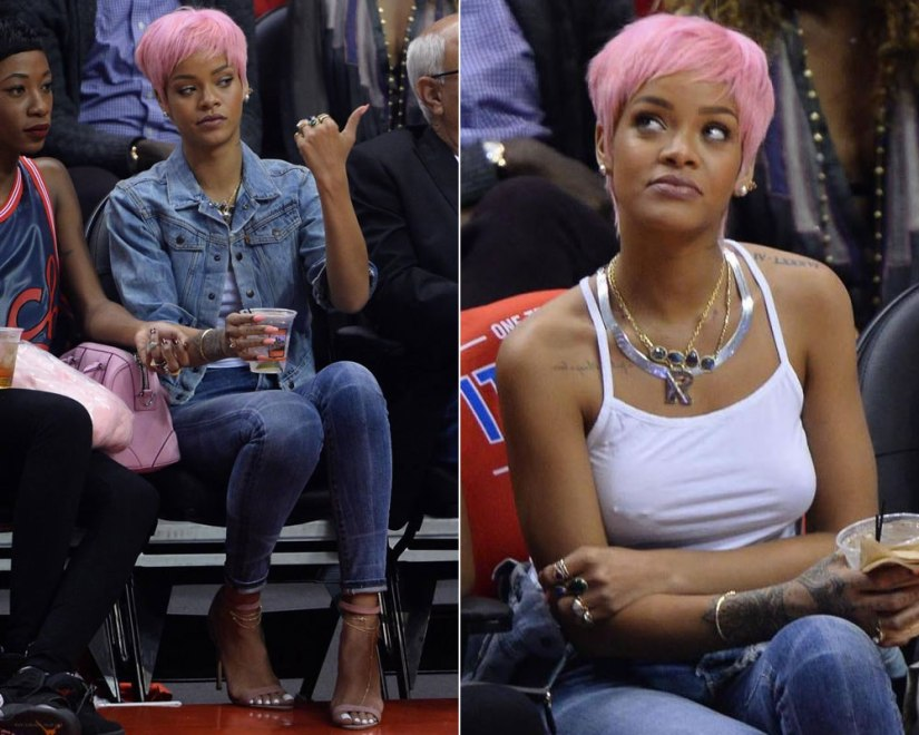 Rihanna wearing a pink wig, a Levi's cropped denim jacket, Citizens of Humanity Rocket skinny jeans in Manic, Manolo Blahnik Chaos sandals in pink suede, Givenchy's Lucrezia pink mini tote, Fallon herringbone necklac,e Dior pearl rings, Jacquie Aiche gemstone rings and diamond anklet