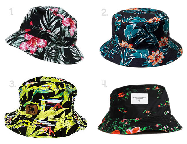 floral printed bucket hats