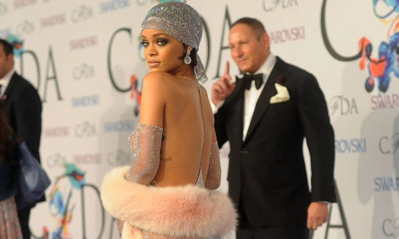 Rihanna at CFDA Awards wearing Adam Selman Swarovski crystal dress