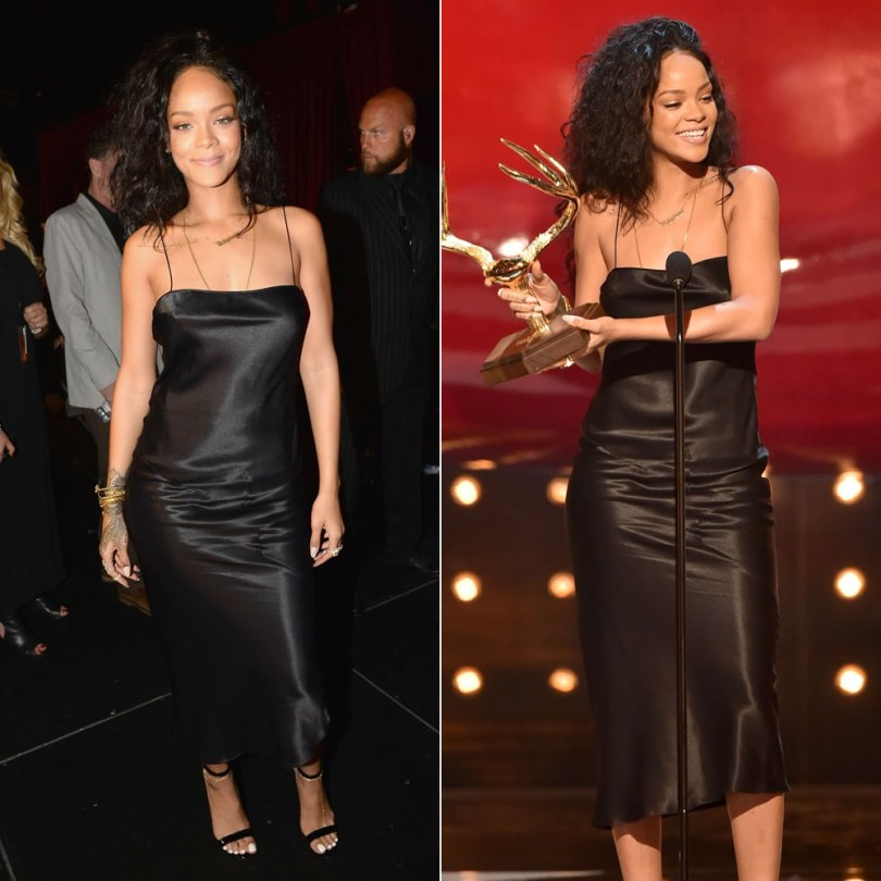 Rihanna at Guys Choice Awards wearing vintage John Galliano slip dress, Manolo Blahnik Chaos ankle-strap sandals, Mala by Patty Rodriguez Where you from necklace, Jacquie Aiche diamond toe anklet