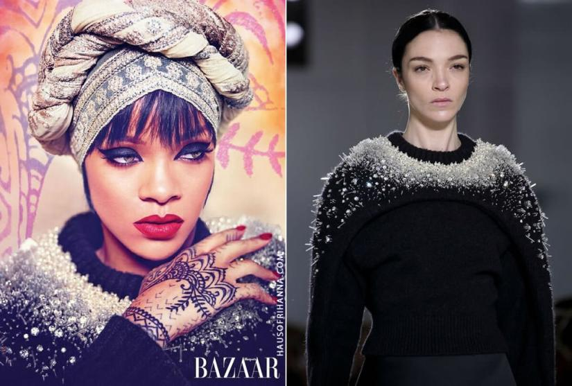 Rihanna wearing Balenciaga Fall 2014 crystal embellished sweater in Harper's Bazaar Arabia July 2014