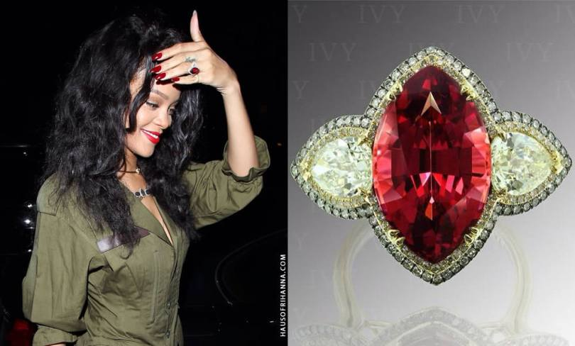 Rihanna wearing IVY New York rholodite garnet and diamond ring