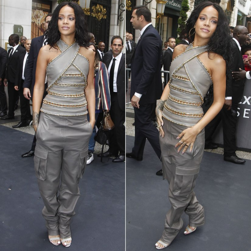 Rihanna at Rogue launch in Paris wearing Balmain Fall/Winter 2014 and Manolo Blahnik Chaos sandals