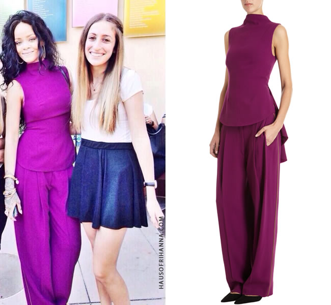 Rihanna wearing The Row purple peplum top and Pattson pleated pants