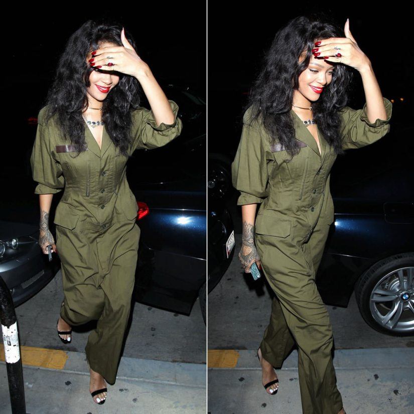 Rihanna in Regulation by Yohji Yamamoto green jumpsuit, Manolo Blahnik Chaos ankle-strap sandals, Jennifer Fisher knot choker, Mala by Patty Rodriguez Where you from? Bridgetown necklace, Jacquie Aiche labradorite necklace and diamond shaker toe anklet