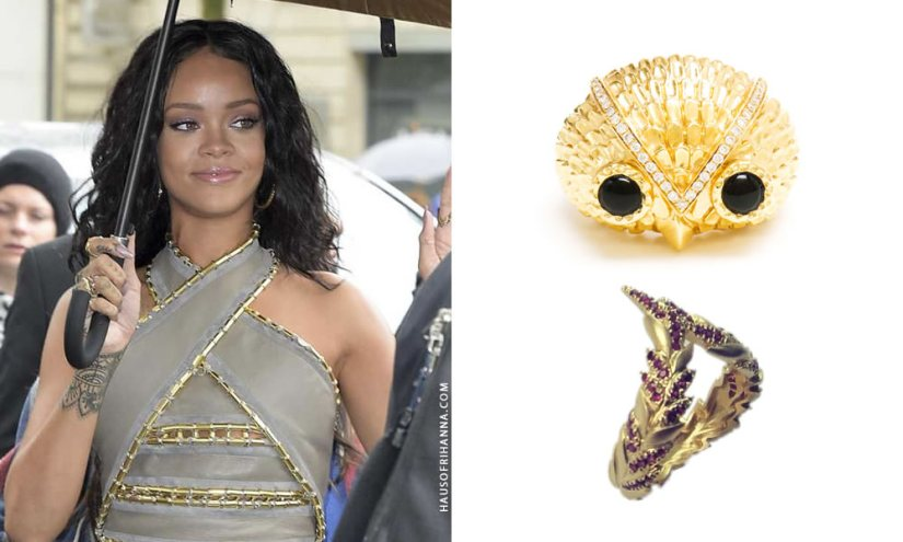 Rihanna wearing Yvonne Leon Maxi Hibou gold owl ring and Viviane Feuilles V ring
