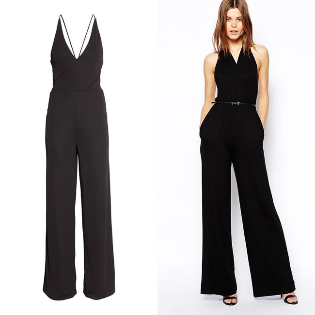 Black v-neck jumpsuits by H&M and ASOS