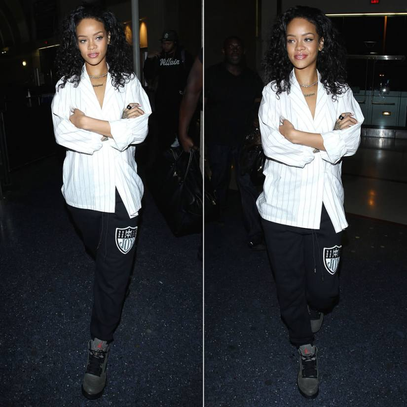 RIhanna wearing Joyrich Rich Team logo sweatpants, Air Jordan Retro 5 Fear green sneakers, Lynn Ban diamond coil ring, Delfina Delettrez eye and  pearl ring, Jacquie Aiche labradorite pyramid ring