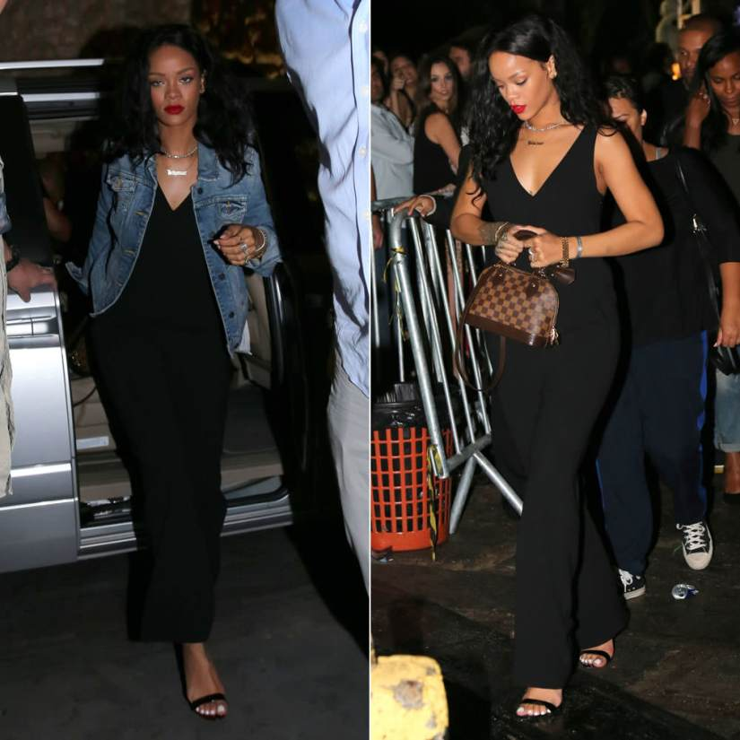Rihanna in T by Alexander wang black v-neck jumspuit, Manolo Blahnik Chaos sandals, Abercrombie and Fitch Natalie denim jacket, Louis Vuitton Alma BB handbag, Lynn Ban coil ring, Mala by Patty Rodriguez Where you from necklace