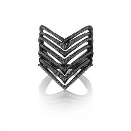 Lynn Ban black diamond and black rhodium chevron ring as seen on Rihanna