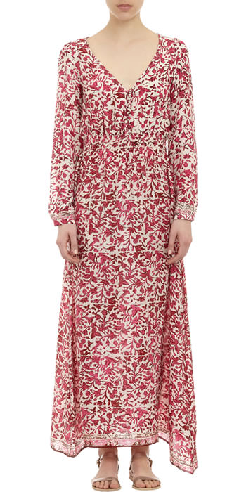 Natalie Martin floral-print silk maxi dress with asymmetric hem