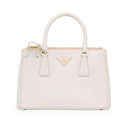 Prada Saffiano Lux small tote in white
