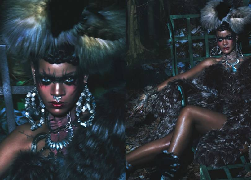 Rihanna in W Magazine September 2014 wearing Diaboli Kill Damian ring, Rachel Boston septum ring, Michael Kors feather and fur coat, Erickson Beamon earrings