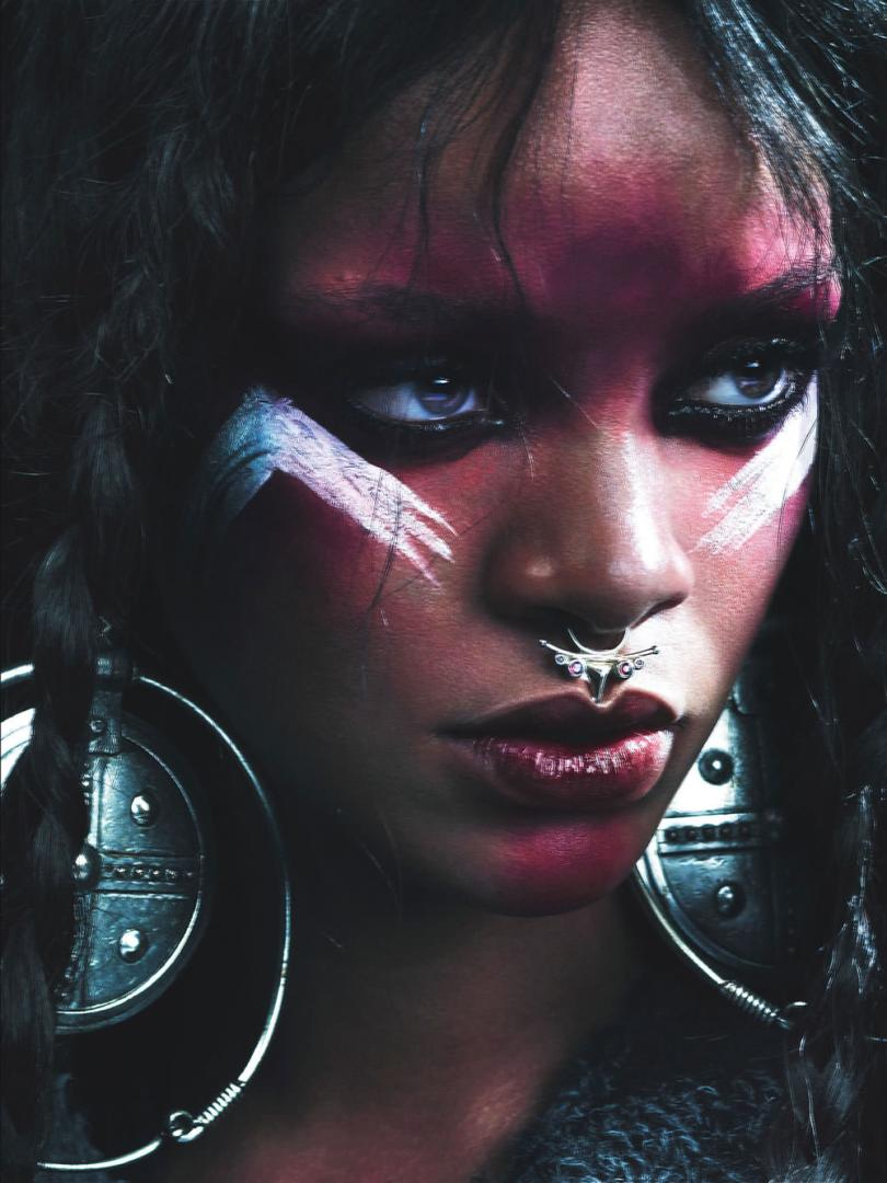 Rihanna in W magazine September 2014 wearing Meadowlark septum ring and Lynn Ban earrings