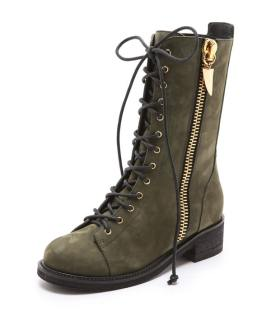 Giuseppe Zanotti Block olive green suede combat boots as seen on Rihanna