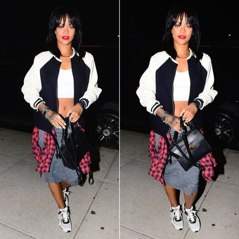 Rihanna wearing Isabel Marant Etoile Cyrpess leather sleeve jacket, Chanel white sneakers, Balenciaga Le Dix Cartable satchel handbag, Delfina Delettrez triple stones ring, Jason of Beverly Hills double angel wing diamond ring, Rihanna for River Island black briefs