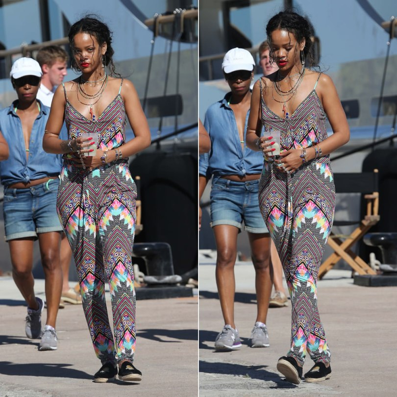 Rihanna wearing Mara Hoffman divine printed jumpsuit, Silver spoon Attire velvet espadrilles, Meadowlark septum ring, Jacquie Aiche beaded necklaces, bodychains, gemstone cuffs, moonstone knuckle ring