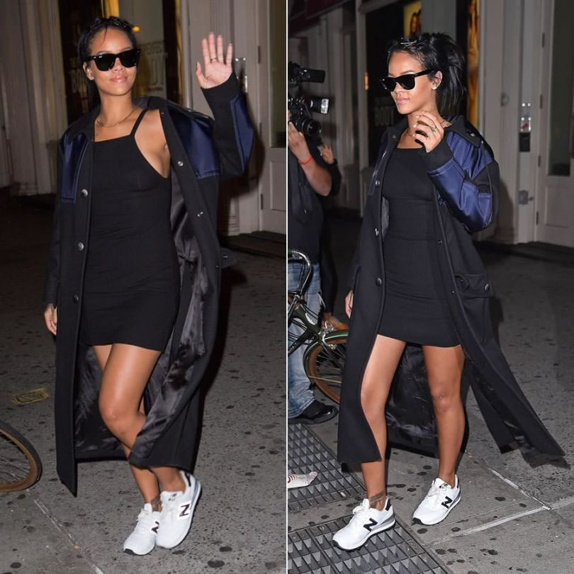 Rihanna in Miu Miu wool coat with blue shell detail, Reformation Rhodes black ribbed mini dress, New Balance 574 white sneakers, Ray-Ban Wayfarer sunglasses