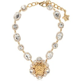 Versace gold and crystal Medusa necklace as seen on Rihanna