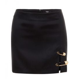 Versus black wool safety pin skirt