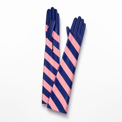 Dior 'Dior Stripes' long pink and blue gloves as seen on Rihanna