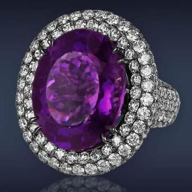Jacob & Co oval amethyst and diamond ring as seen on Rihanna