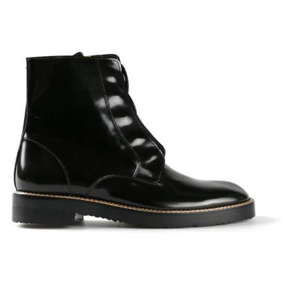 Maison Martin Margiela black burnished lace-up ankle boots as seen on Rihanna