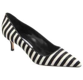 Manolo Blahnik BB ponyhair striped pumps with kitten heel as seen on Rihanna