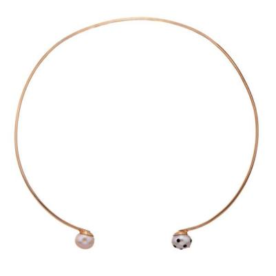 Nektar de Stagni Lady Bug polka dot pink pearl and gold-plated choker as seen on Rihanna