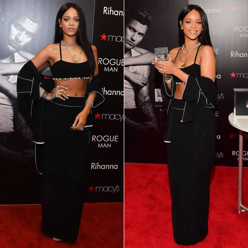 Rihanna wearing Adam Selman Spring/Summer 2015 black shirt, pearl trimmed bra top and maxi skirt, Manolo Blahnik suede Chaos sandals, Inez and Vinoodh pearl necklace