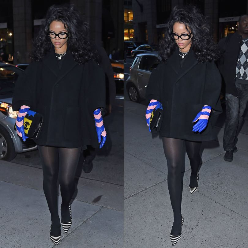 Rihanna wearing Dior black wool coat, Dior Stripes pink and blue long gloves, Chanel Fall 2014 patchwork shearling flap handbag, Manolo Blahnik BB striped ponyhair pumps