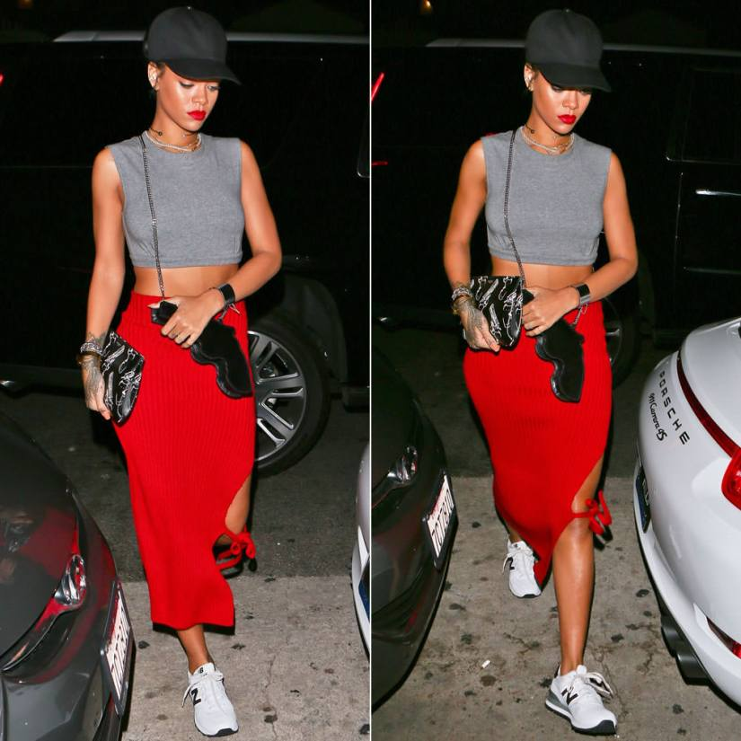 Rihanna wearing Givenchy black baseball snapback cap, Norma Kamali Sweats grey midriff sleevless crop top, New Balance 574 sneakers, Saint Laurent Bo gun purse and gun print clutch, Nektar de Stagni pearl choker, Celine silver edge cuff
