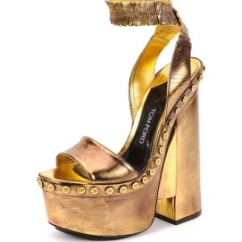 Tom Ford gold mirror metallic platform ankle-wrap sandals