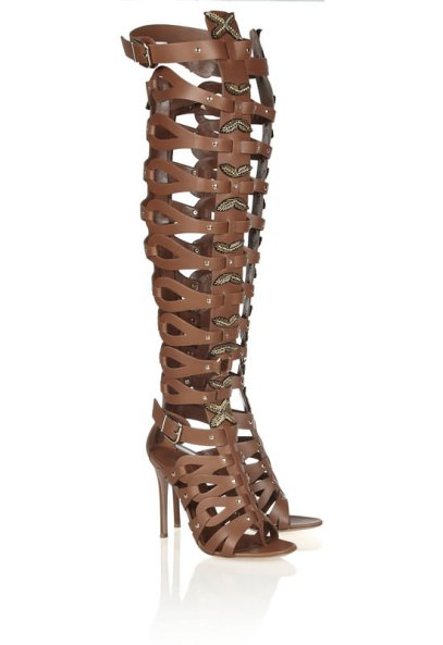 Altuzarra by Gianvito Rossi brown leather gladiator cage sandals as seen on Rihanna