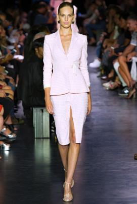 Altuzarra Spring/Summer 2015 pink gingham skirt suit as seen on Rihanna