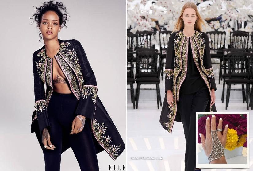 Rihanna in Elle magazine December 2014 wearing Dior Fall 2014 couture floral embroidered coat and Colette mesh and diamond hand bracelet