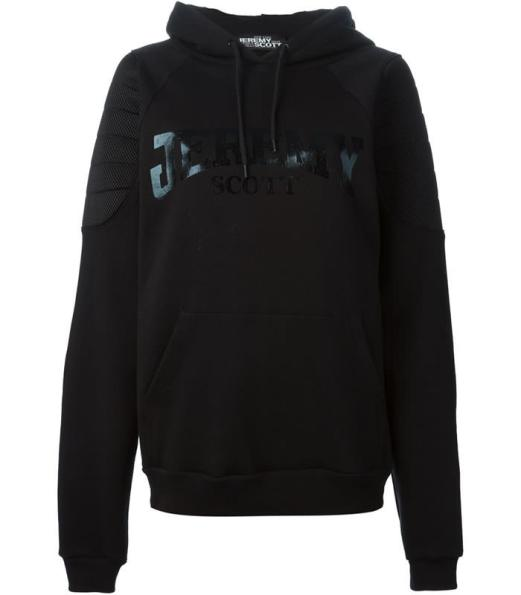 Jeremy Scott black logo hoodie with padded detail as seen on Rihanna